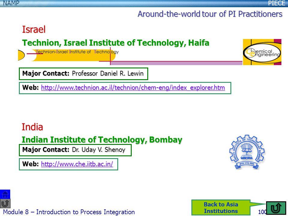 PIECENAMP Module 8 – Introduction to Process Integration 100 Israel Technion, Israel Institute of Technology, Haifa Major Contact: Professor Daniel R.