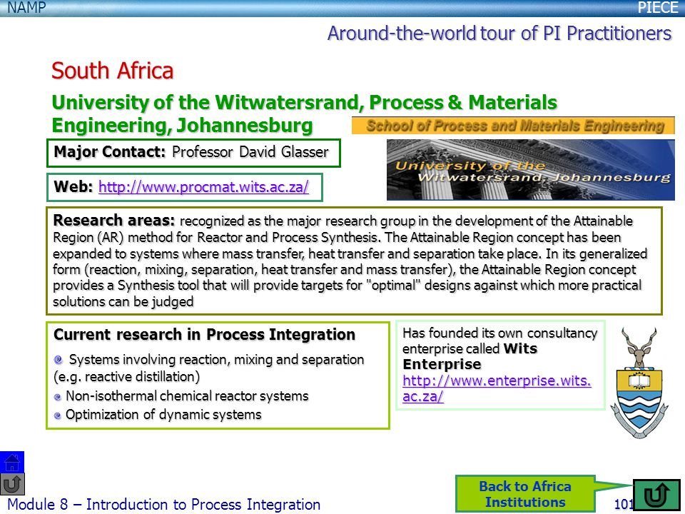 PIECENAMP Module 8 – Introduction to Process Integration 101 South Africa University of the Witwatersrand, Process & Materials Engineering, Johannesburg Major Contact: Professor David Glasser Web: http://www.procmat.wits.ac.za/ http://www.procmat.wits.ac.za/ Research areas: recognized as the major research group in the development of the Attainable Region (AR) method for Reactor and Process Synthesis.