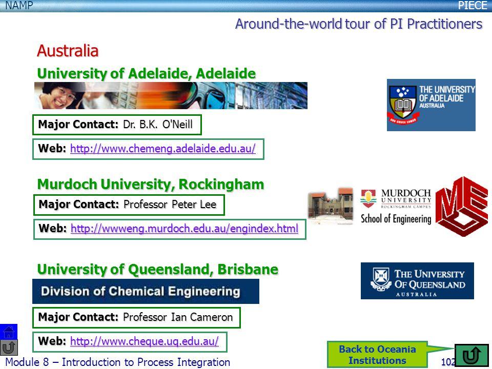 PIECENAMP Module 8 – Introduction to Process Integration 102 Australia University of Adelaide, Adelaide Murdoch University, Rockingham University of Queensland, Brisbane Major Contact: Dr.