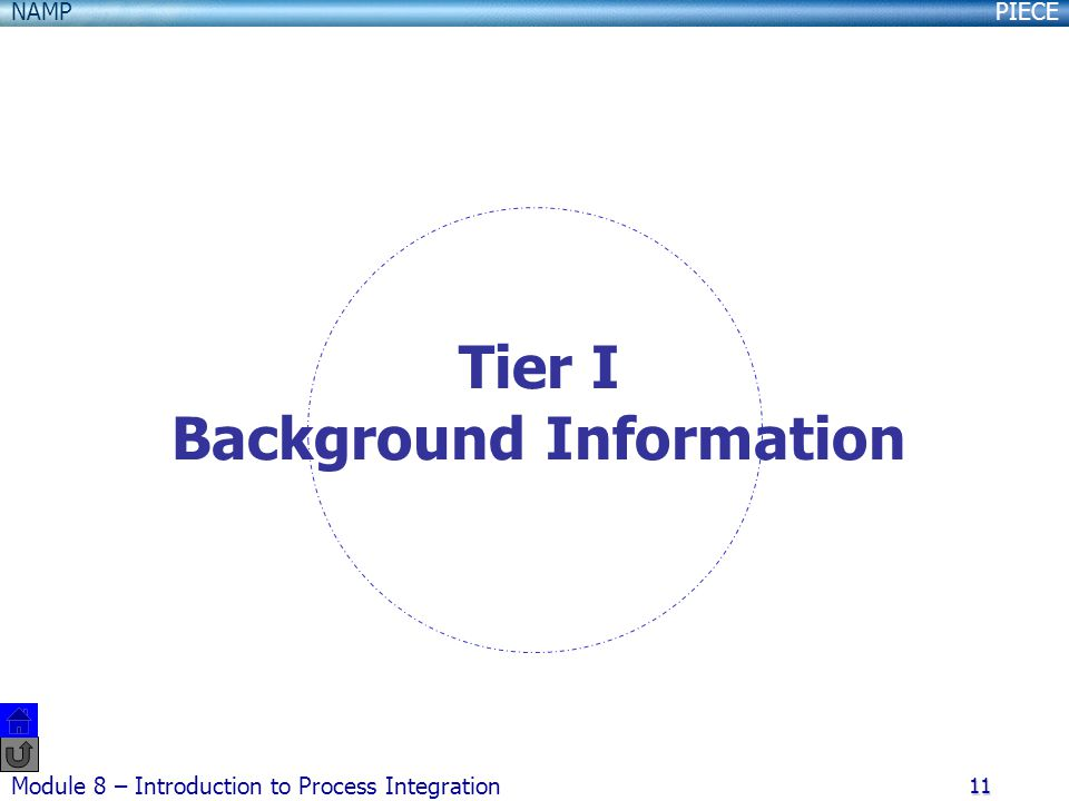 PIECENAMP Module 8 – Introduction to Process Integration 11 Tier I Background Information
