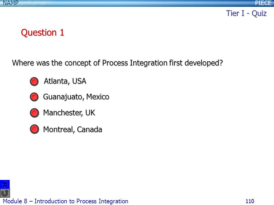 PIECENAMP Module 8 – Introduction to Process Integration 110 Where was the concept of Process Integration first developed.