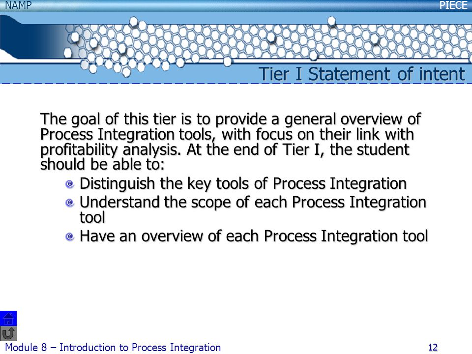 PIECENAMP Module 8 – Introduction to Process Integration 12 Tier I Statement of intent The goal of this tier is to provide a general overview of Process Integration tools, with focus on their link with profitability analysis.