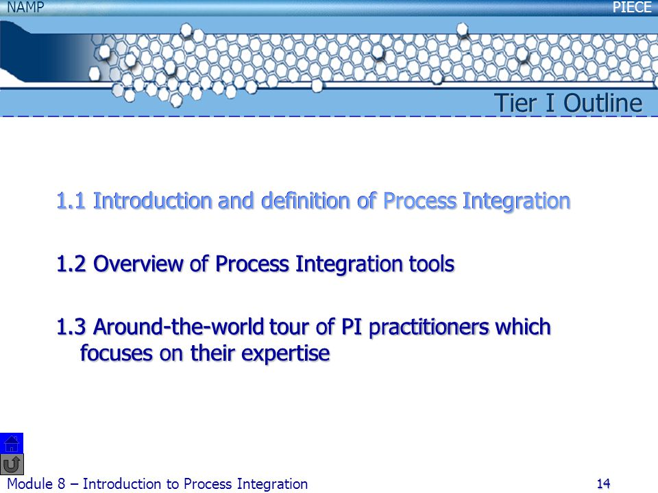 PIECENAMP Module 8 – Introduction to Process Integration 14 1.1 Introduction and definition of Process Integration 1.2 Overview of Process Integration tools 1.3 Around-the-world tour of PI practitioners which focuses on their expertise Tier I Outline 1.1 Introduction and definition of Process Integration 1.2 Overview of Process Integration tools 1.3 Around-the-world tour of PI practitioners which focuses on their expertise