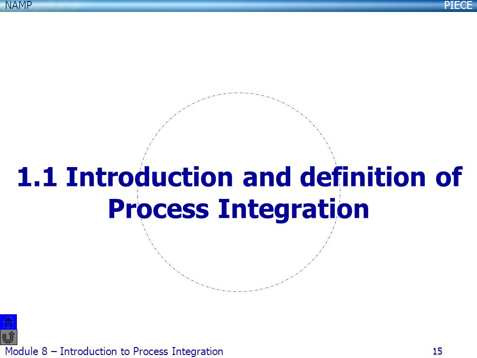 PIECENAMP Module 8 – Introduction to Process Integration 15 1.1 Introduction and definition of Process Integration