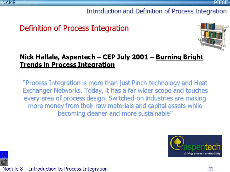 PIECENAMP Module 8 – Introduction to Process Integration 21 Nick Hallale, Aspentech – CEP July 2001 – Burning Bright Trends in Process Integration Process Integration is more than just Pinch technology and Heat Exchanger Networks.