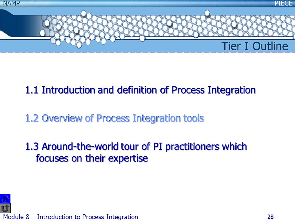 PIECENAMP Module 8 – Introduction to Process Integration 28 1.1 Introduction and definition of Process Integration 1.2 Overview of Process Integration