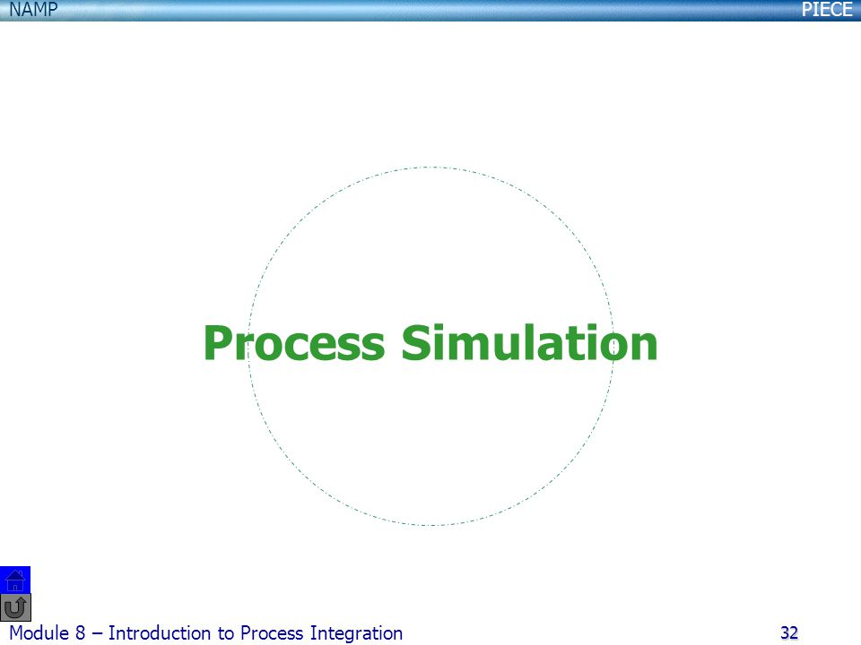 PIECENAMP Module 8 – Introduction to Process Integration 32 Process Simulation