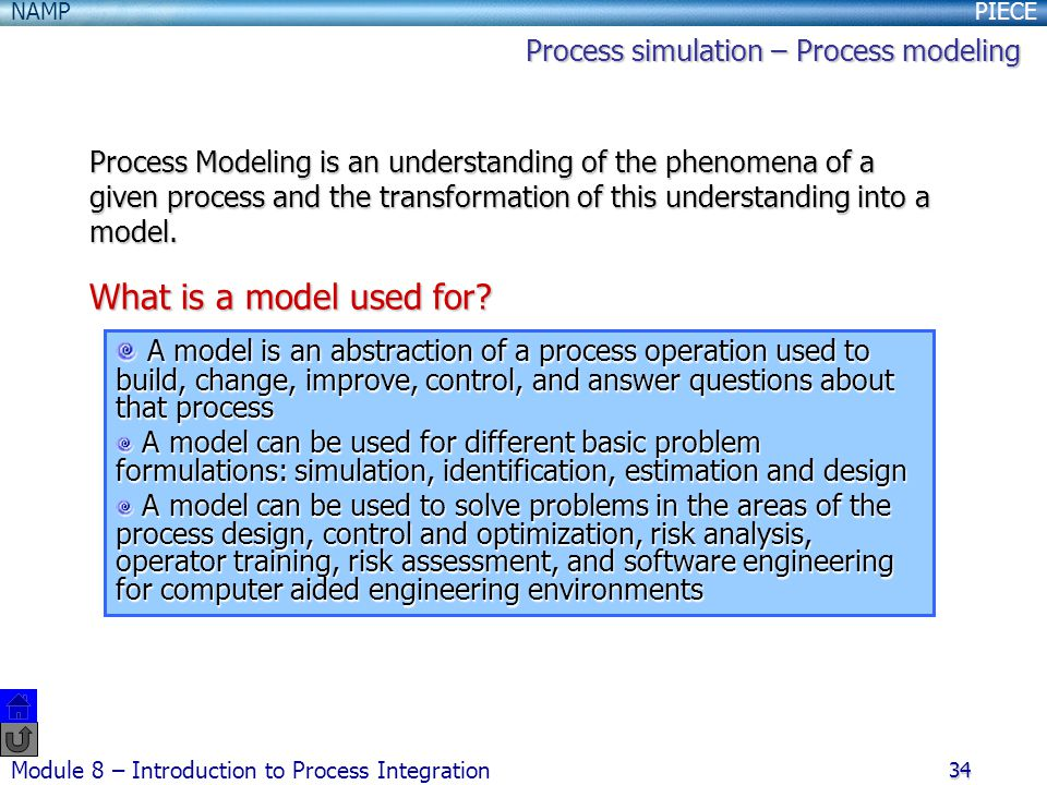PIECENAMP Module 8 – Introduction to Process Integration 34 What is a model used for.
