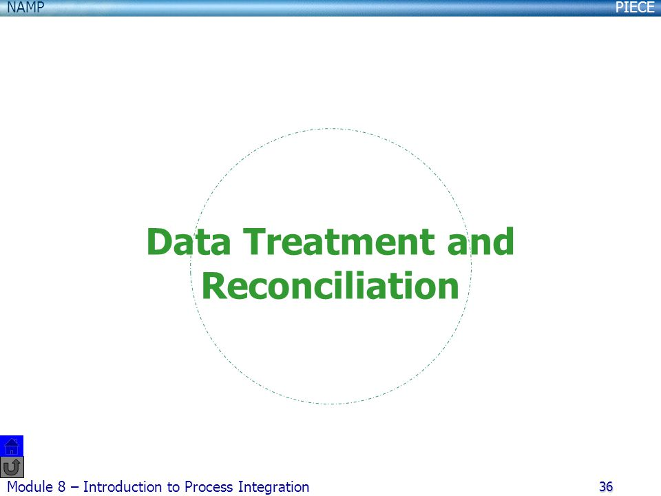 PIECENAMP Module 8 – Introduction to Process Integration 36 Data Treatment and Reconciliation