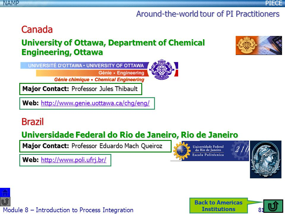 PIECENAMP Module 8 – Introduction to Process Integration 81 Canada University of Ottawa, Department of Chemical Engineering, Ottawa Major Contact: Professor Jules Thibault Web: http://www.genie.uottawa.ca/chg/eng/ http://www.genie.uottawa.ca/chg/eng/ Brazil Universidade Federal do Rio de Janeiro, Rio de Janeiro Major Contact: Professor Eduardo Mach Queiroz Web: http://www.poli.ufrj.br/ http://www.poli.ufrj.br/ Around-the-world tour of PI Practitioners Back to Americas Institutions