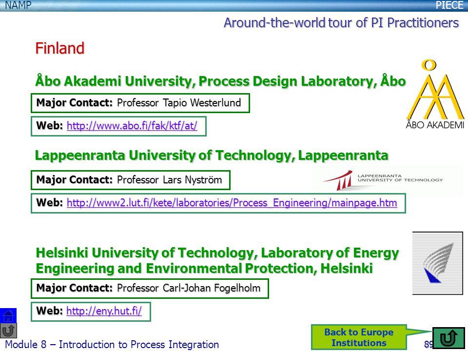 PIECENAMP Module 8 – Introduction to Process Integration 89 Finland Åbo Akademi University, Process Design Laboratory, Åbo Lappeenranta University of Technology, Lappeenranta Helsinki University of Technology, Laboratory of Energy Engineering and Environmental Protection, Helsinki Major Contact: Professor Tapio Westerlund Web: http://www.abo.fi/fak/ktf/at/ http://www.abo.fi/fak/ktf/at/ Major Contact: Professor Lars Nyström Web: http://www2.lut.fi/kete/laboratories/Process_Engineering/mainpage.htm http://www2.lut.fi/kete/laboratories/Process_Engineering/mainpage.htm Major Contact: Professor Carl-Johan Fogelholm Web: http://eny.hut.fi/ http://eny.hut.fi/ Around-the-world tour of PI Practitioners Back to Europe Institutions