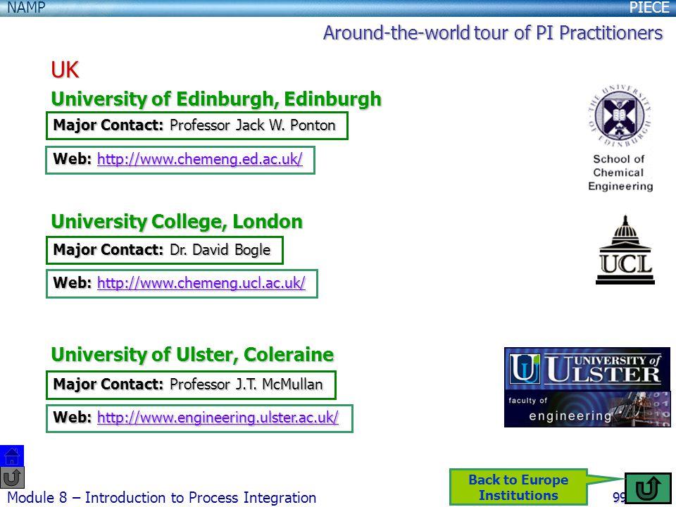 PIECENAMP Module 8 – Introduction to Process Integration 99 UK University of Edinburgh, Edinburgh University College, London University of Ulster, Coleraine Major Contact: Dr.
