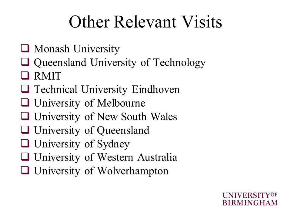 Other Relevant Visits  Monash University  Queensland University of Technology  RMIT  Technical University Eindhoven  University of Melbourne  University of New South Wales  University of Queensland  University of Sydney  University of Western Australia  University of Wolverhampton