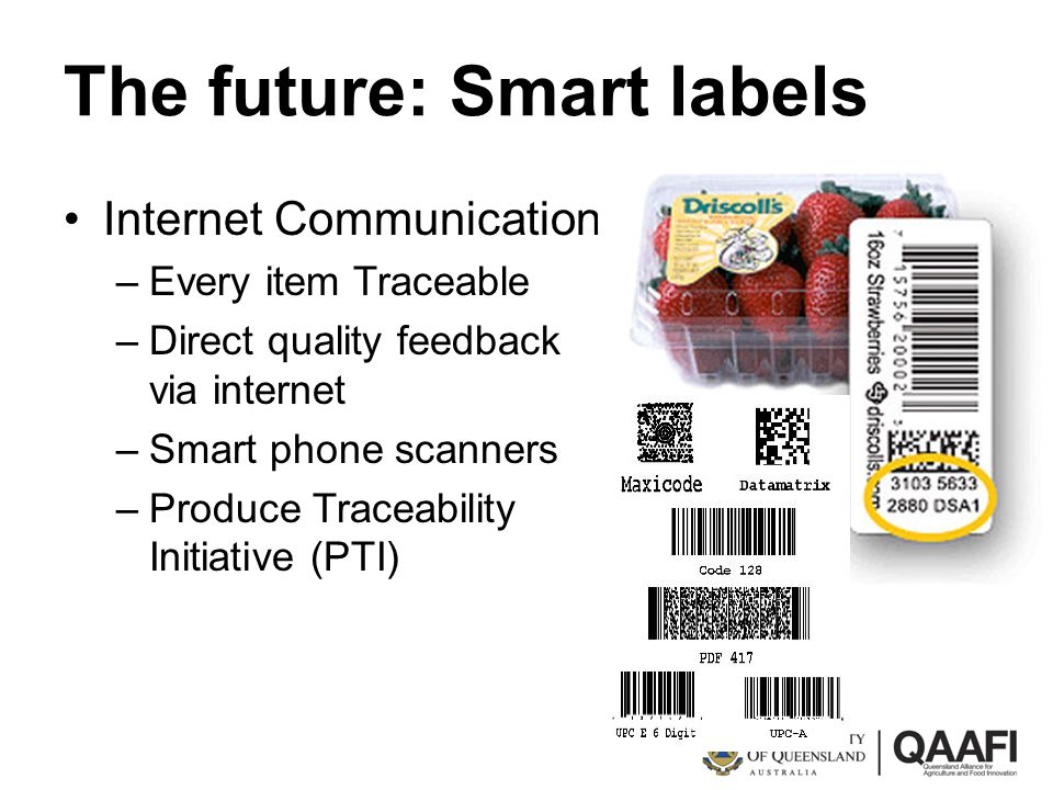 The future: Smart labels Internet Communication –Every item Traceable –Direct quality feedback via internet –Smart phone scanners –Produce Traceabilit