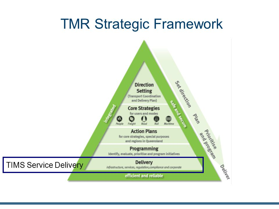 TMR Strategic Framework TIMS Service Delivery