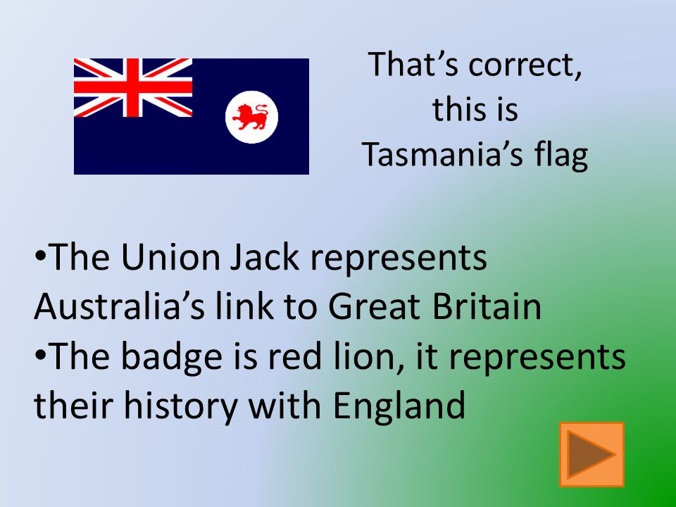 That is not Tasmania's Flag Click on the button to go back and try again