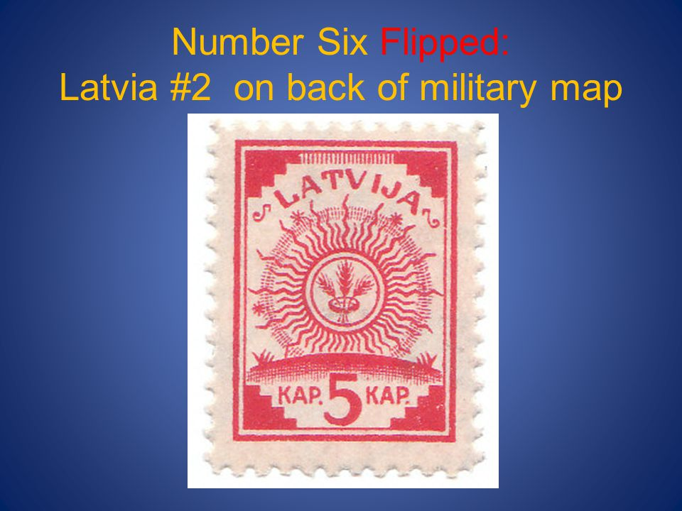Number Six Flipped: Latvia #2 on back of military map
