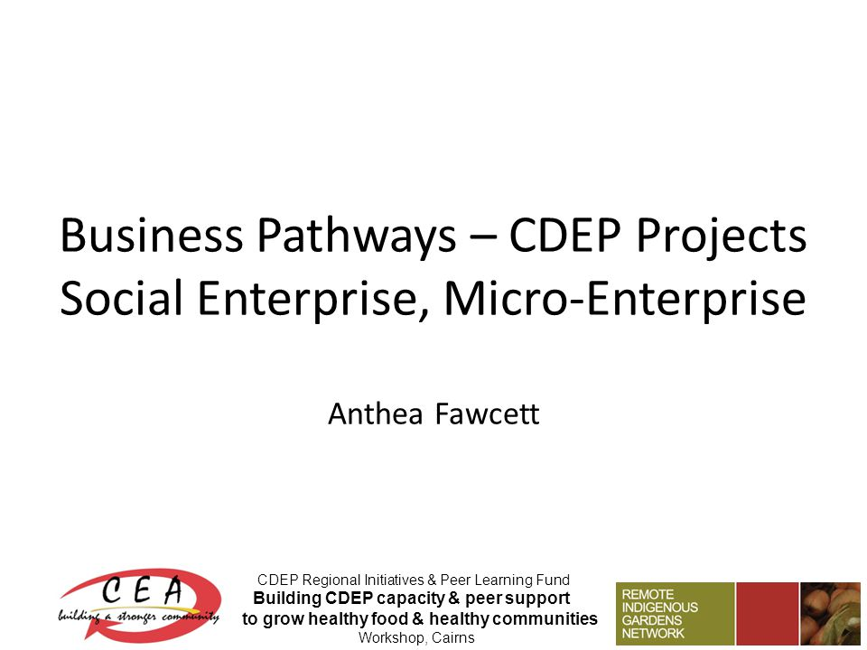 Business Pathways – CDEP Projects Social Enterprise, Micro-Enterprise Anthea Fawcett CDEP Regional Initiatives & Peer Learning Fund Building CDEP capacity & peer support to grow healthy food & healthy communities Workshop, Cairns