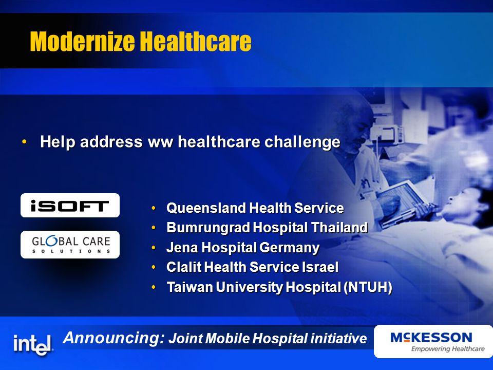 Modernize Healthcare Help address ww healthcare challengeHelp address ww healthcare challenge Queensland Health ServiceQueensland Health Service Bumru