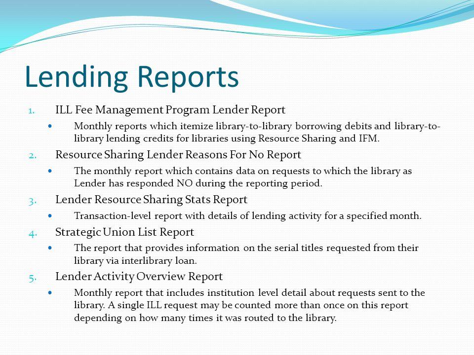 Lending Reports 1.