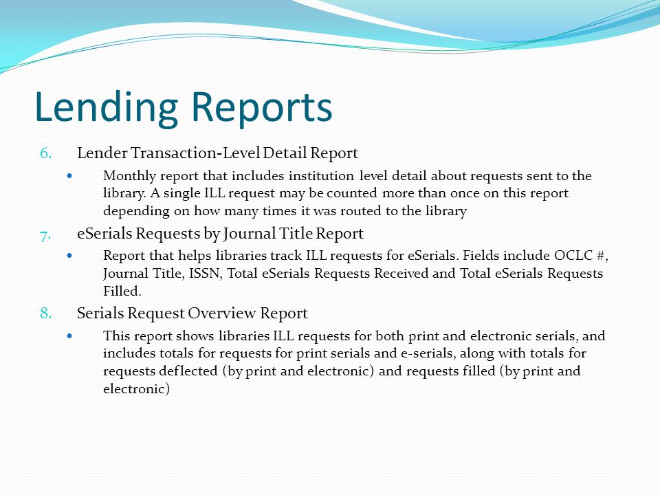 Lending Reports 6.
