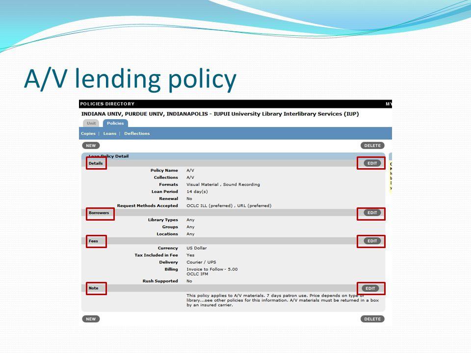A/V lending policy