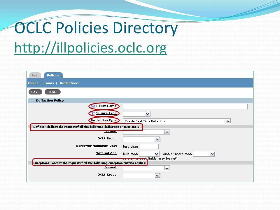 OCLC Policies Directory http://illpolicies.oclc.org http://illpolicies.oclc.org