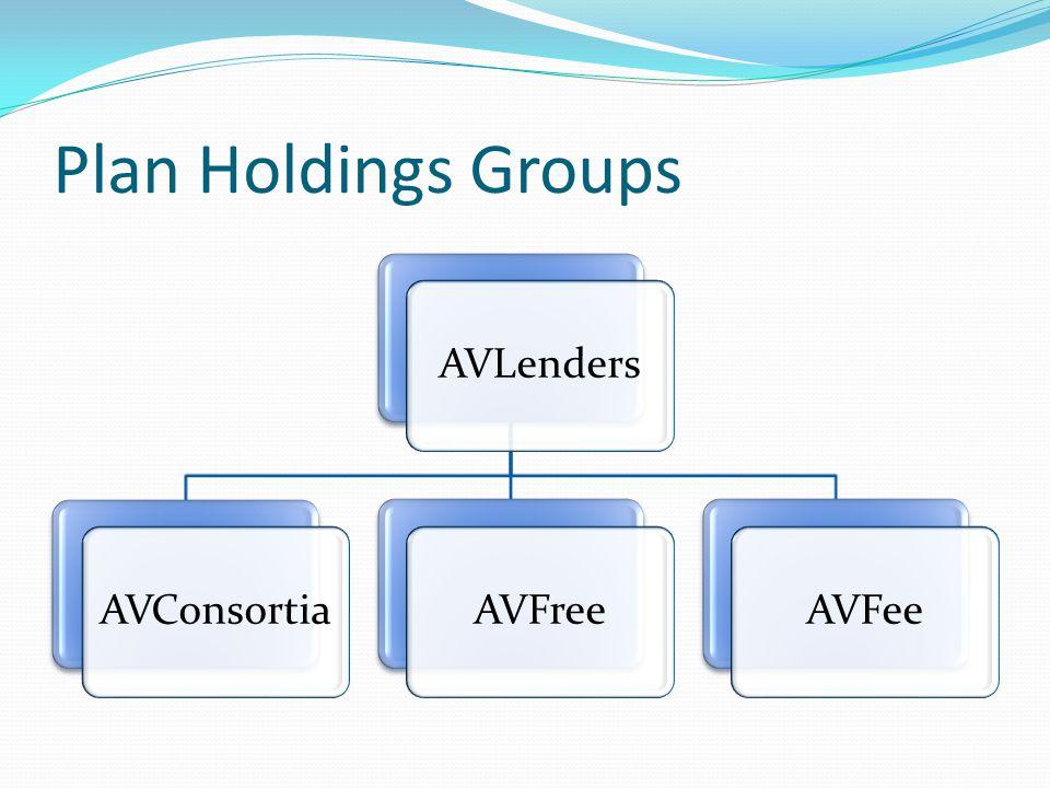 Plan Holdings Groups AVLendersAVConsortiaAVFreeAVFee