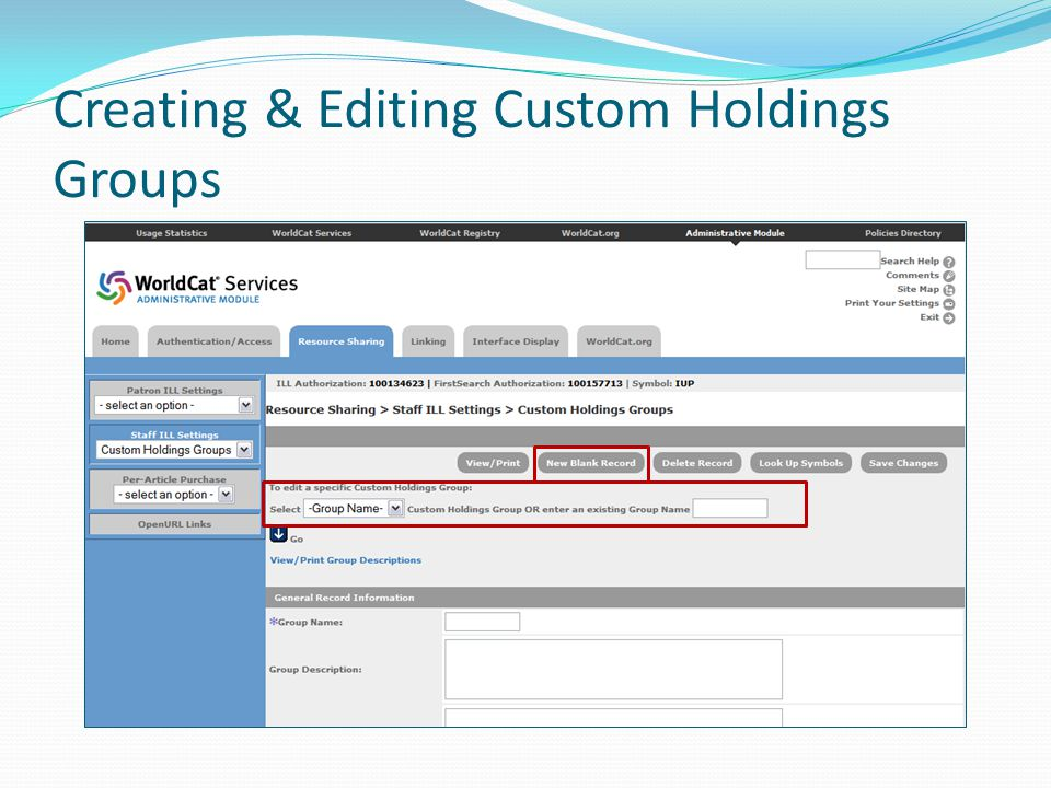 Creating & Editing Custom Holdings Groups