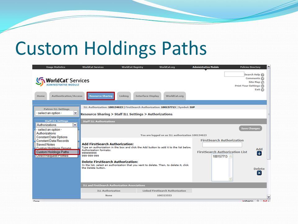 Custom Holdings Paths