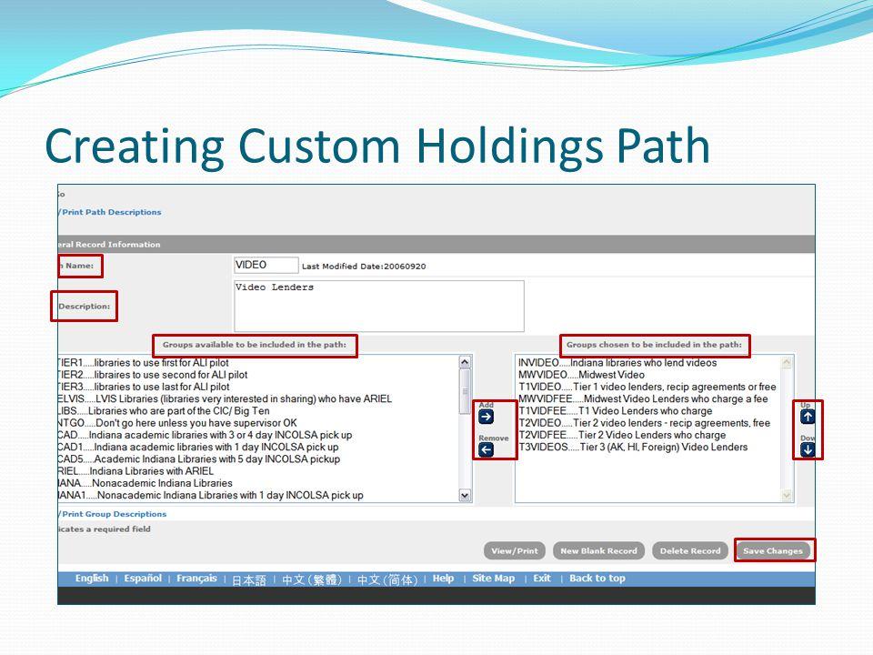 Creating Custom Holdings Path