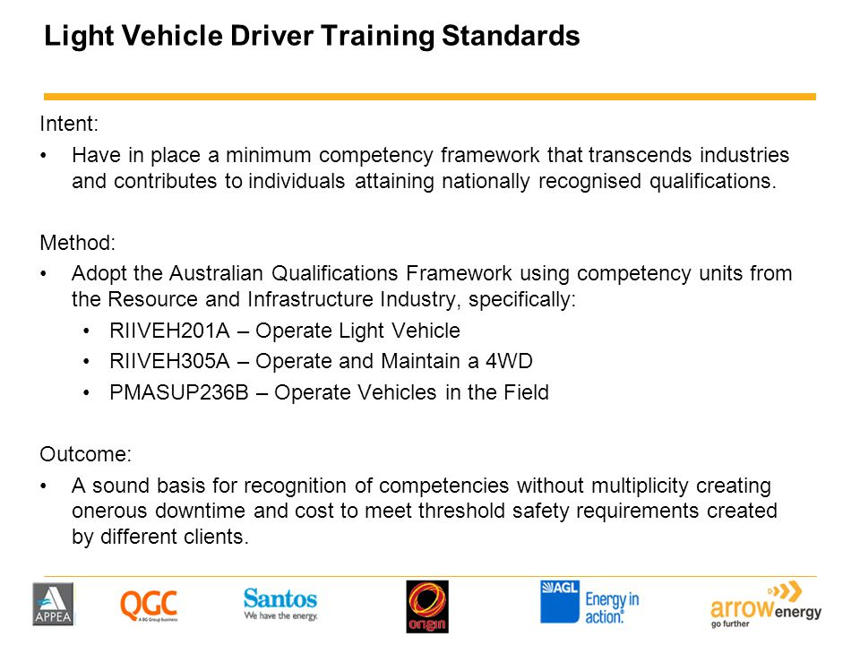 Light Vehicle Driver Training Standards Intent: Have in place a minimum competency framework that transcends industries and contributes to individuals attaining nationally recognised qualifications.