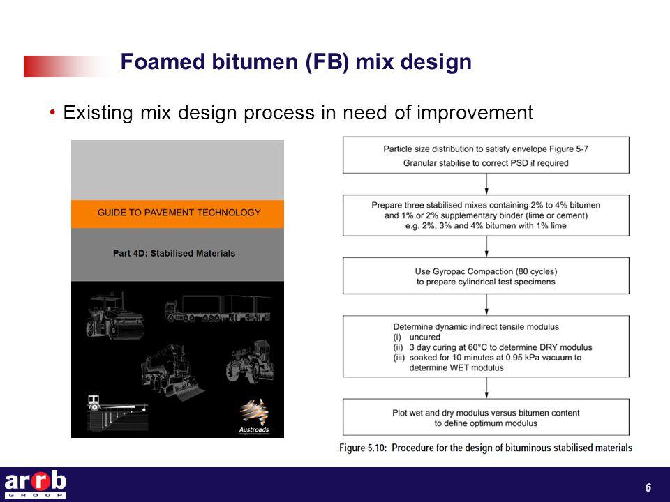 Foamed bitumen (FB) mix design Existing mix design process in need of improvement 6