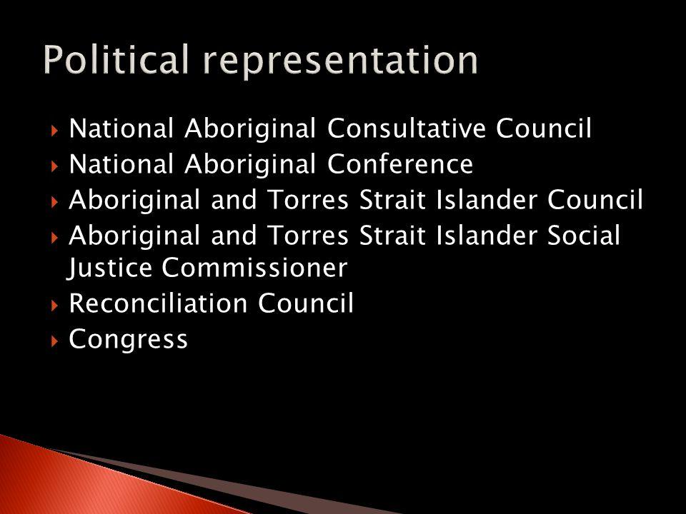  National Aboriginal Consultative Council  National Aboriginal Conference  Aboriginal and Torres Strait Islander Council  Aboriginal and Torres Strait Islander Social Justice Commissioner  Reconciliation Council  Congress