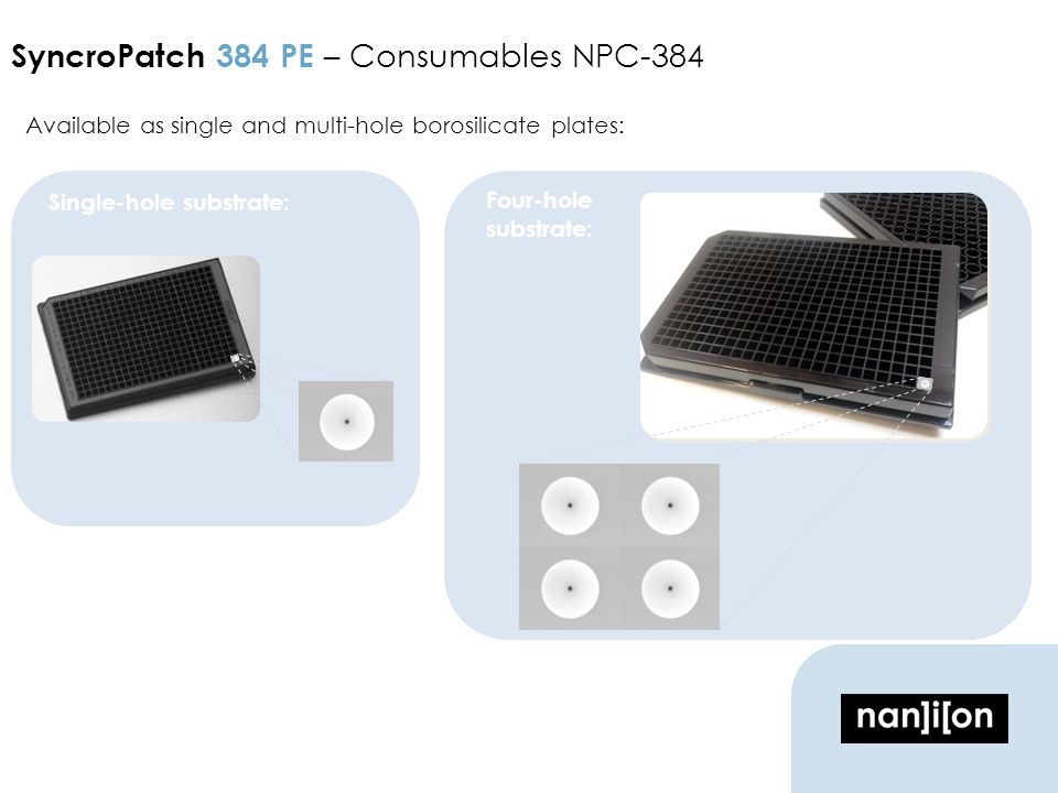 Available as single and multi-hole borosilicate plates: SyncroPatch 384 PE – Consumables NPC-384 Single-hole substrate: Four-hole substrate: