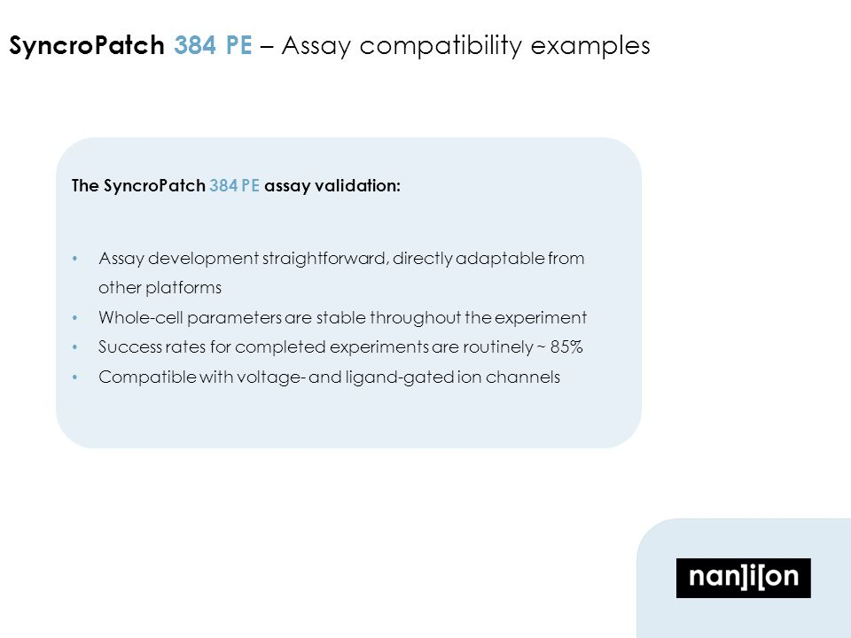 Wrap up data section The SyncroPatch 384 PE assay validation: Assay development straightforward, directly adaptable from other platforms Whole-cell parameters are stable throughout the experiment Success rates for completed experiments are routinely ~ 85% Compatible with voltage- and ligand-gated ion channels SyncroPatch 384 PE – Assay compatibility examples