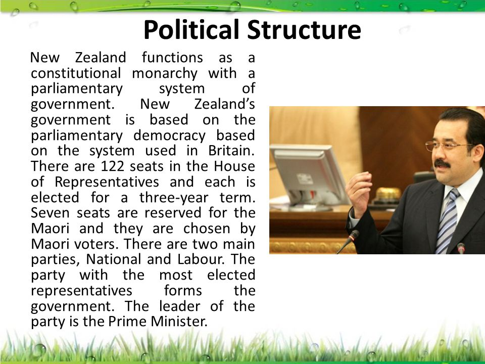 Political Structure New Zealand functions as a constitutional monarchy with a parliamentary system of government. New Zealand's government is based on