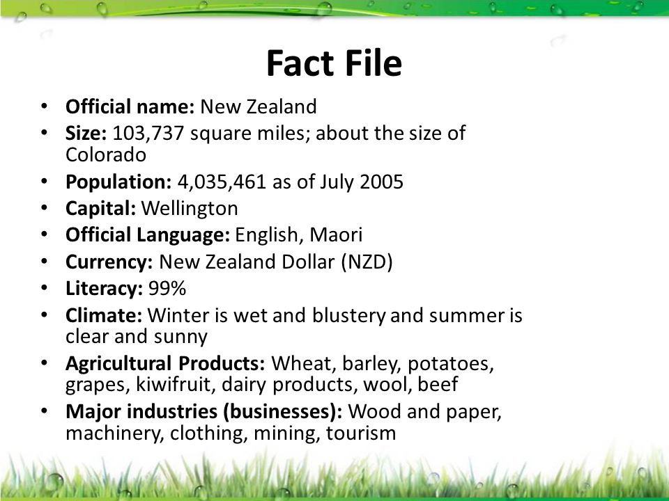Fact File Official name: New Zealand Size: 103,737 square miles; about the size of Colorado Population: 4,035,461 as of July 2005 Capital: Wellington