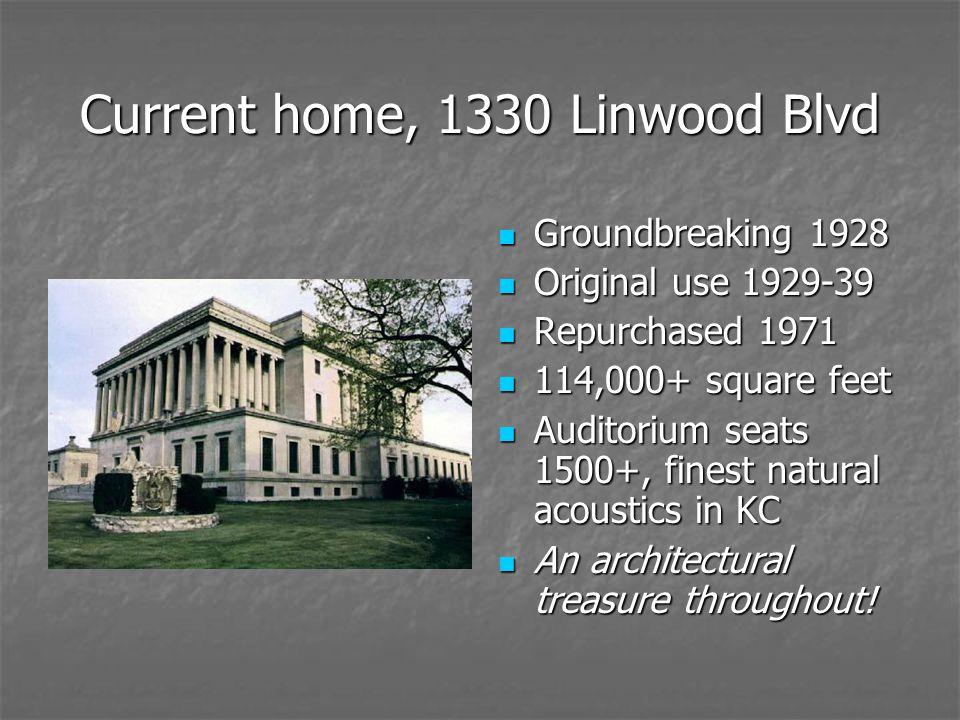 Current home, 1330 Linwood Blvd Groundbreaking 1928 Groundbreaking 1928 Original use 1929-39 Original use 1929-39 Repurchased 1971 Repurchased 1971 11