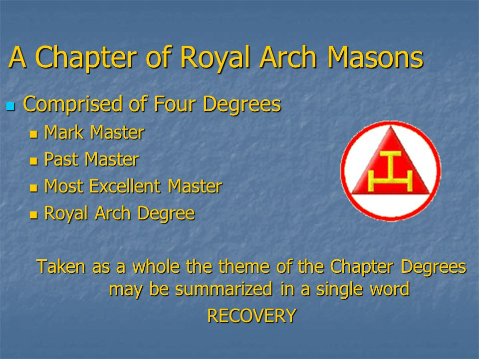The Mark Masters Degree Considered by many to be one of the oldest degrees in Masonry Considered by many to be one of the oldest degrees in Masonry The Candidate represents a Fellow Craft Mason The Candidate represents a Fellow Craft Mason The Degree teaches us to look for the value in all things and to be mindful of the importance of the contributions of others