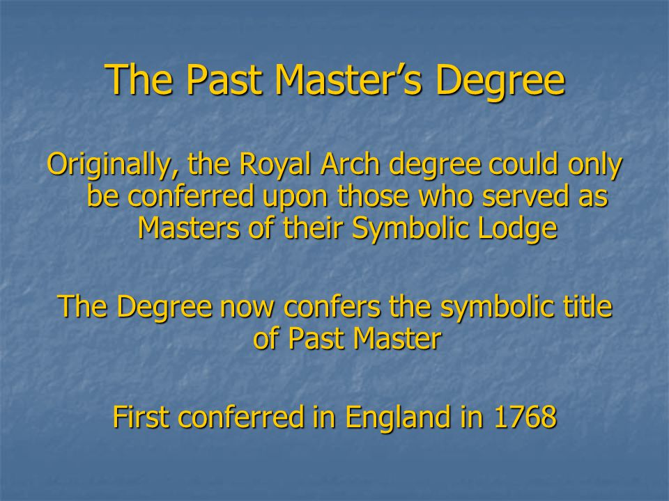 The Most Excellent Masters Degree Here we see the completion and dedication of the Temple