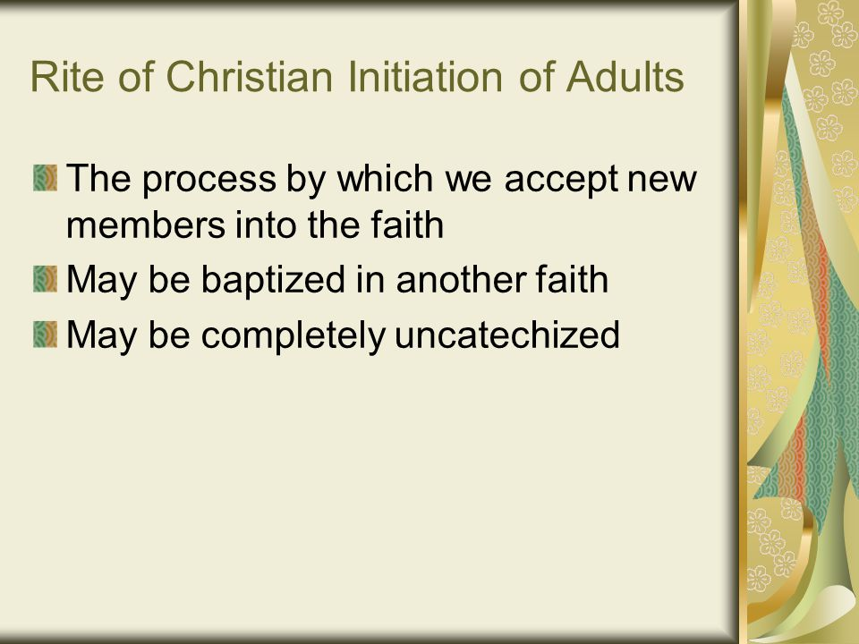 Overview of the Initiation Process Precatechumenate/Inquiry Rite of Acceptance or Welcome Catechumenate Rite of Sending/Rite of Election/Rite of Call to Continuing Conversion Purification and Enlightenment Initiation Sacraments Mystagogy