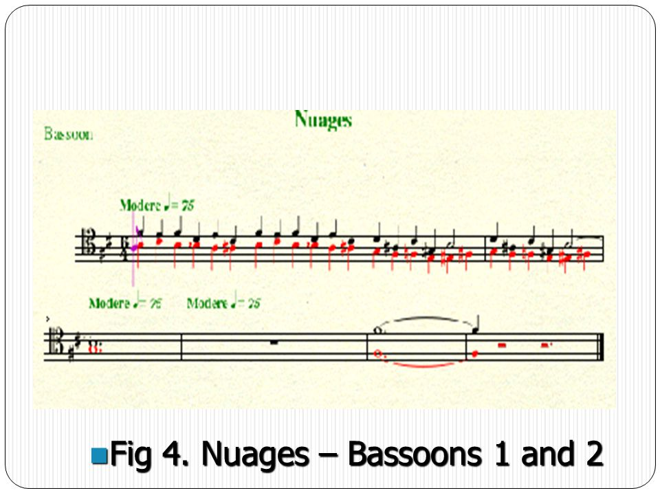 4. Heterophony. In Nuages Debussy is attempting to create a Heterophonic orchestral texture.
