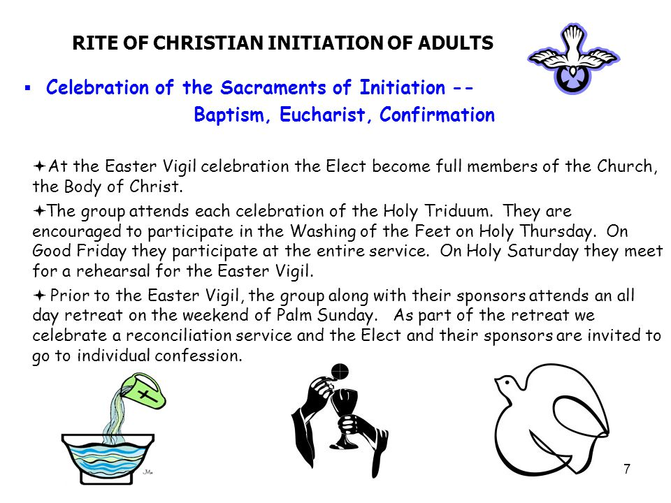 8 RITE OF CHRISTIAN INITIATION OF ADULTS  Period of Mystagogy  This is a time of being led into the Mystery of God by living the Pascal Mystery of Christ's dying and rising  It is a time for growth in faith and integration into parish life  It requires full participation in the life of the church and its mission for justice and peace  Sessions are held every Sunday from 9:00am to 10:00am in the Meeting Room with our last session offered on the Feast of Pentecost.