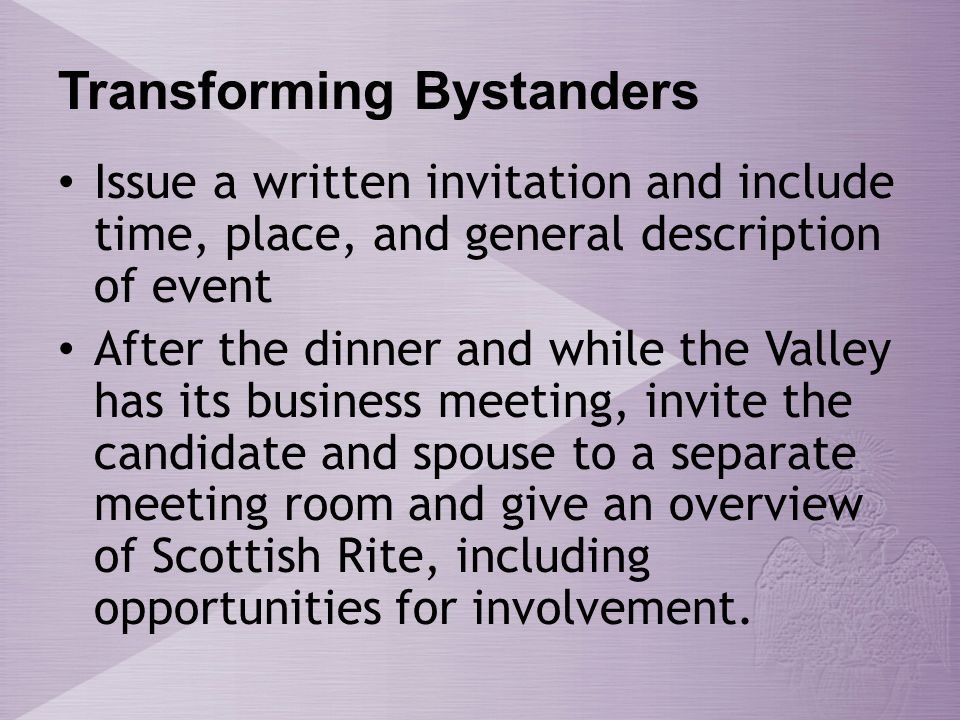 Transforming Bystanders Invite questions from the candidate and spouse.