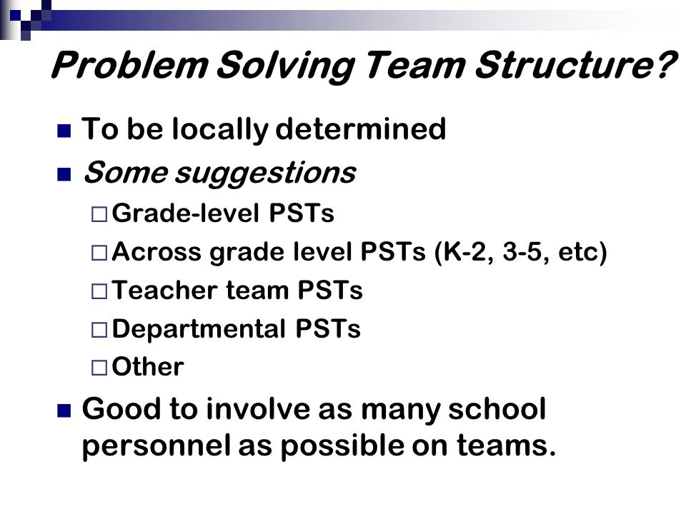 Problem Solving Team Structure.