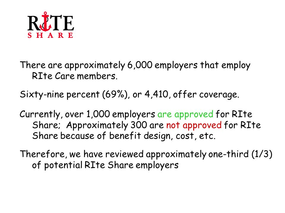 Goal 1: To enroll all eligible individuals in RIte Share Objective 2: To identify potential RIte Share eligible families in a timely fashion and review their case for eligibility as soon as possible.