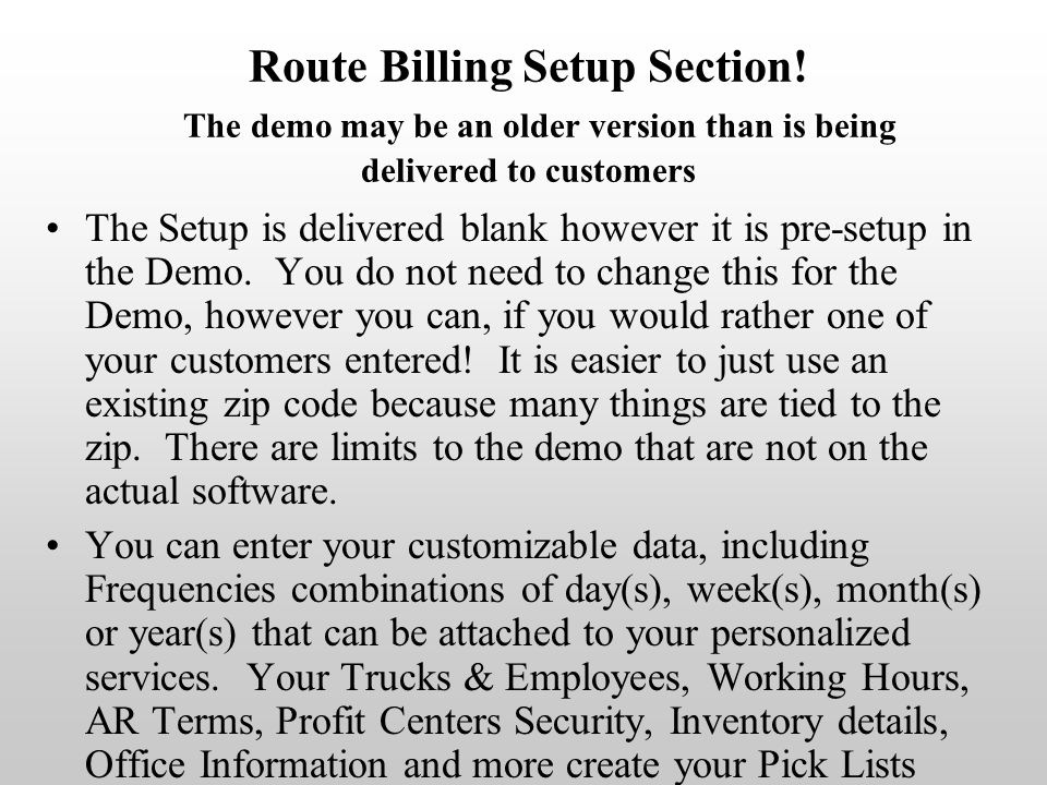Route Billing Setup Section.
