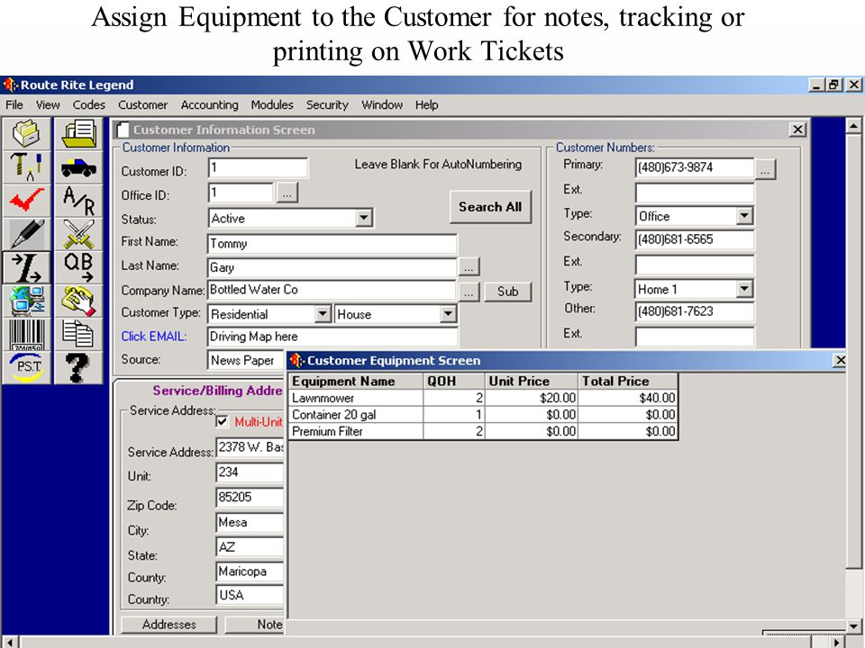 Assign Equipment to the Customer for notes, tracking or printing on Work Tickets