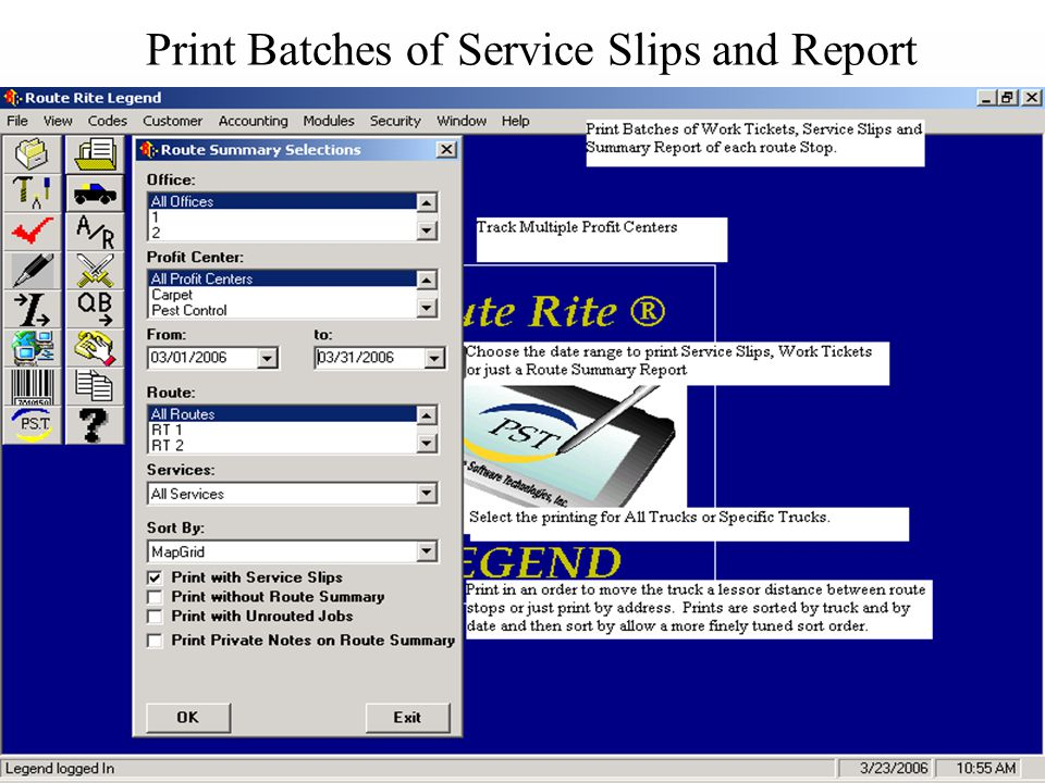 Print Batches of Service Slips and Report